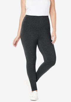 Stretch Cotton Legging, HEATHER CHARCOAL, hi-res