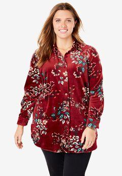 Velour Shirt, BURGUNDY FLORAL BOUQUET