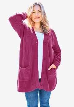 Long-Sleeve Shaker Cardigan Sweater, RASPBERRY