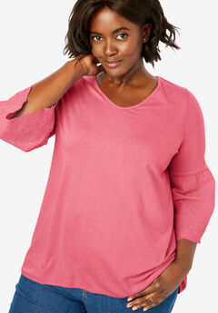 Embroidered Ruffle-Sleeve V-Neck Tee,
