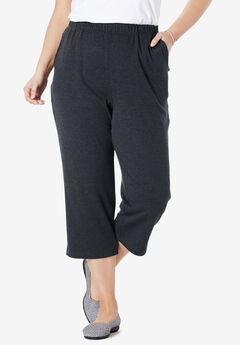 7-Day Knit Capri, HEATHER CHARCOAL