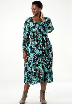 Belted Swing Dress by Chelsea Studio®, MULTI COLOR PAISLEY
