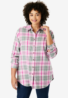Classic Flannel Shirt, PINK PLAID