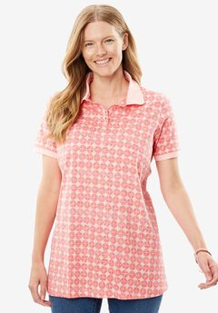 Perfect Printed Polo T-shirt, PINK ICE CIRCLE TILE, hi-res