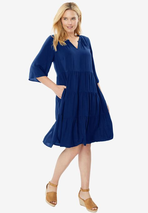 Tiered Trapeze Dress Plus Size Dresses Woman Within