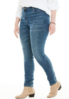 Perfect Pearl-Studded Skinny Jean,