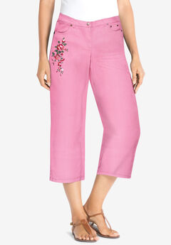 Capri Stretch Jean, PINK ORCHID ROSE BOUQUET EMBROIDERY