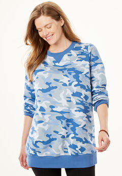 Fleece Sweatshirt, DUSTY INDIGO CAMO