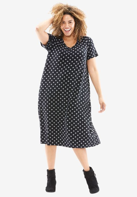 Polka Dot Shift Dress Plus Size Casual Dresses Woman Within