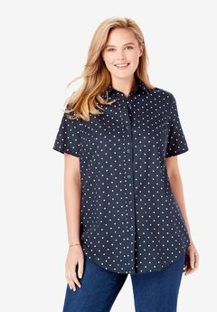 Perfect Short Sleeve Button Down Shirt, NAVY POLKA DOT