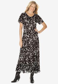 Crinkle Dress, BLACK FLORAL PRINT