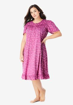 Short Floral Print Cotton Gown by Dreams & Co.®, RICH MAGENTA PAISLEY