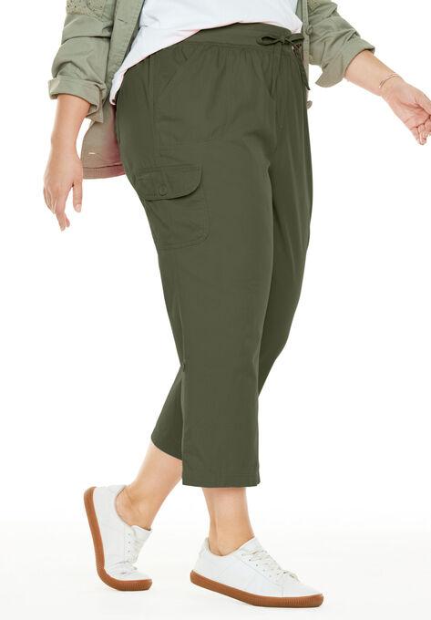 4631c3f6fb6cf Convertible-Length Cotton Cargo Capri Pants