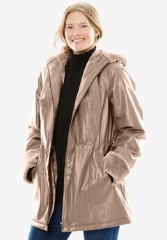 Hooded Leather Anorak with Faux Shearling Trim, ALMOND TAUPE, hi-res