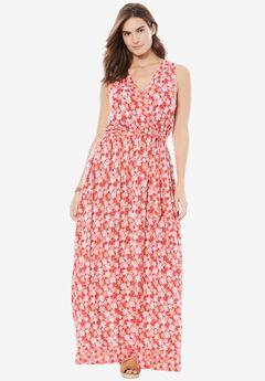 Surplice maxi dress by Chelsea Studio®, RASPBERRY SORBET
