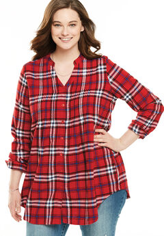 Pintuck Flannel Shirt, FRESH RED PLAID