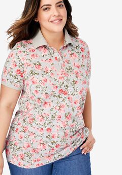 Printed Polo Perfect Tee, HEATHER GREY BLOSSOM VINE