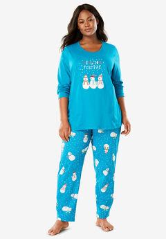 Holiday Print PJ Set by Dreams & Co.®, DARK TURQ SNOWMAN