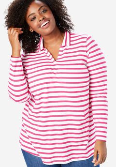 Perfect Striped Open Collar Polo Tee, RASPBERRY SORBET STRIPE