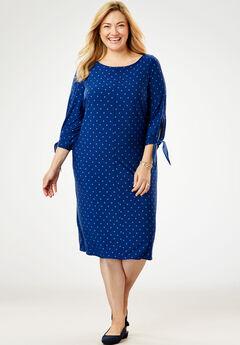 Tie-Sleeve Dress, EVENING BLUE DOT