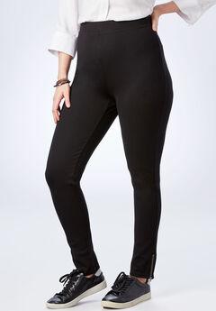 Zip-Hem Ponte Legging, BLACK, hi-res