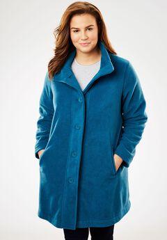 Cozy Fleece Swing Jacket, BLUE TEAL, hi-res