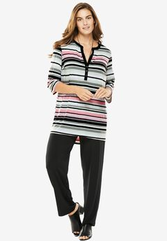 Knit pants and print Henley top set, PINK MULTI STRIPE, hi-res
