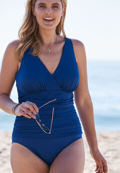 V-Neck One Piece by TrimShaper® by Miraclebrand, ELECTRIC BLUE