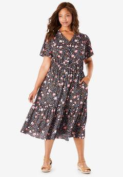Flutter Sleeve Button Front Dress,