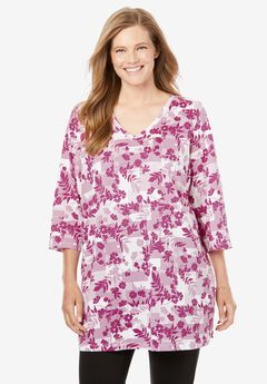 Perfect V-Neck Three-Quarter Sleeve Tunic, RASPBERRY FLORAL PATCHWORK