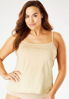 Stretch Cotton Camisole by Comfort Choice®, NUDE, hi-res