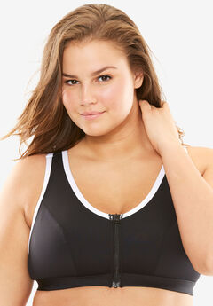Zip-Front Wireless Front Close Bra by Fullbeauty SPORT®, BLACK WHITE, hi-res
