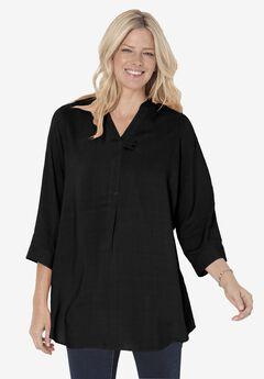 Three-Quarter Sleeve Tab-Front Top, BLACK, hi-res