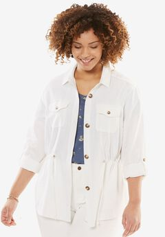 Linen Utility Jacket, WHITE, hi-res