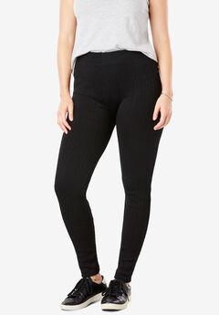Fashion Fleece stretch cable leggings, BLACK, hi-res