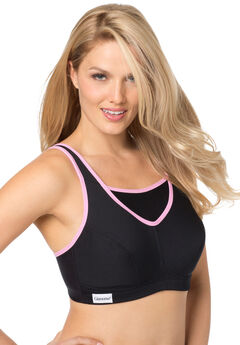 Medium Impact Camisole Active Bra by Glamorise®, BLACK PINK, hi-res