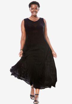 Woman Within®Sleeveless Crinkle Dress, BLACK, hi-res