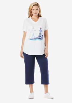 Two-Piece V-Neck Tunic & Capri Set, NAVY SEASIDE