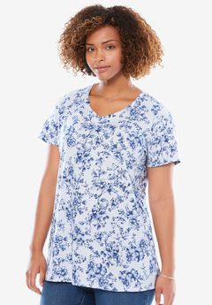 Perfect Printed V-Neck Tee, BLUEBERRY CREAM CHERRY BLOSSOM, hi-res
