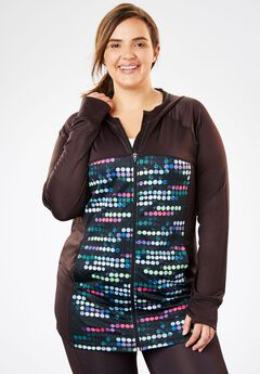 Hooded Zip-Front Jacket, BLACK BLACK MULTI DOT, hi-res