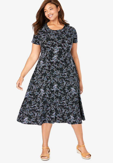 Short sleeve knit fit-and-flare dress| Plus Size Casual Dresses ...