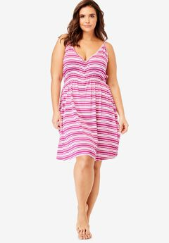 Mesh Back Striped Chemise by Dreams & Co.®,