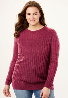 Lightweight Cabled Crewneck Sweater,