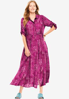 Crinkle Shirtdress,