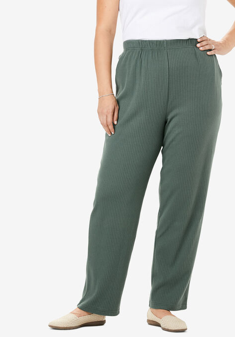 73d09dab 7-Day Knit Ribbed Straight Leg Pant| Plus Size Pants | Woman Within