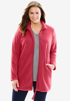 Zip-Front Microfleece Jacket, STRAWBERRY RED