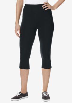 Stretch Cotton Capri Legging, BLACK