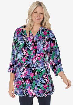 Three-Quarter Sleeve Tab-Front Tunic, BLACK MULTI WATERCOLOR TROPICANA
