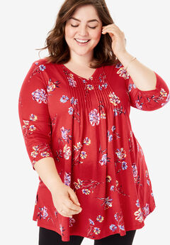 V-Neck Pintucked Tunic,