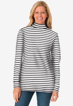 Perfect Printed Long-Sleeve Mock-Neck Tee, WHITE STRIPE